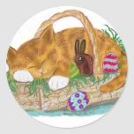 Cat Nap in an Easter Basket Round Stickers