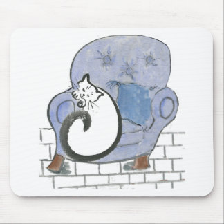 Cat Nap in the Big Blue Comfy Chair Mouse Pads