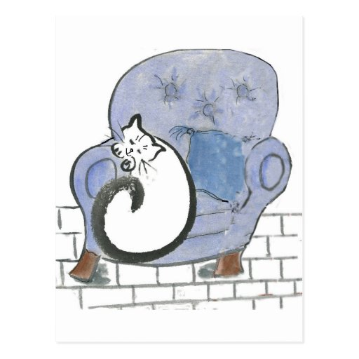 Cat Nap in the Big Blue Comfy Chair Postcard