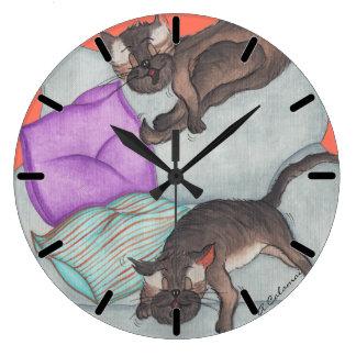 'Cat Nap' Large Round Wall Clock