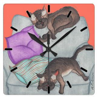 'Cat Nap' Large Square Wall Clock