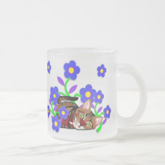 Cat Nap 10 Oz Frosted Glass Coffee Mug
