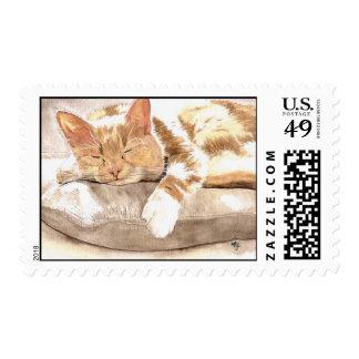 Cat Nap Postage Stamp