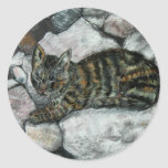 Cat Nap Round Stickers