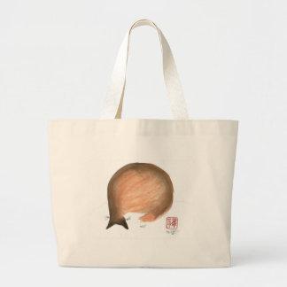 Cat Nap, Sumi-e cat Enso in color Bags