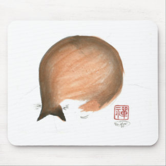 Cat Nap, Sumi-e cat Enso in color Mousepads