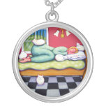 Cat Napping - A Woman Naps with Her Cats Pendants