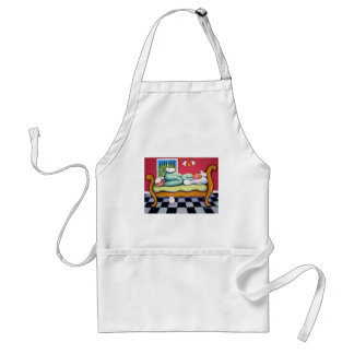 Cat Napping - A Women Naps with her White Cats Apron