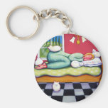 Cat Napping - A Women Naps with her White Cats Keychains