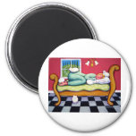 Cat Napping - A Women Naps with her White Cats Fridge Magnet