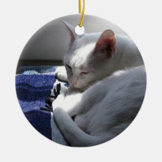 Cat napping ceramic ornament
