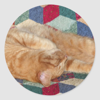 Cat Napping Classic Round Sticker