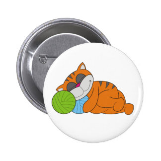 Cat Napping on Yarn 2 Inch Round Button