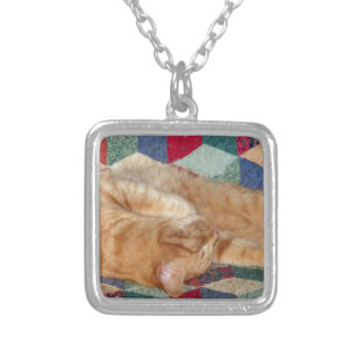 Cat Napping Silver Plated Necklace