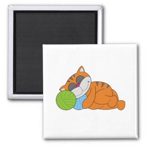 Cat Napping Tshirts and Gifts 2 Inch Square Magnet