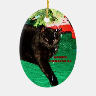 CAT NEGRO, ornamento de las FELICES NAVIDAD Adorno Navideño Ovalado De Cerámica
