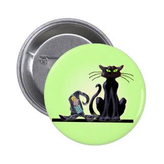 CAT NEGRO y GORRA de SHARON SHARPE Pin Redondo De 2 Pulgadas