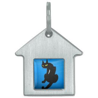CAT NEGRO, zafiro azul Placa De Nombre De Mascota