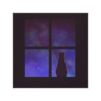 Cat night canvas print