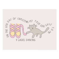 Cat Ninth Day 9 Ladies Dancing Christmas Postcard