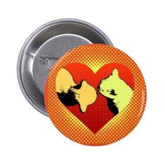 Cat nose kiss heart pinback button