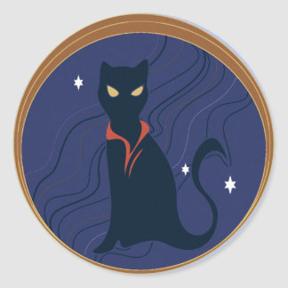 Cat Nouveau Classic Round Sticker