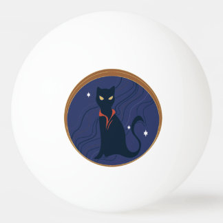 Cat Nouveau Ping-Pong Ball
