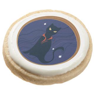 Cat Nouveau Round Shortbread Cookie