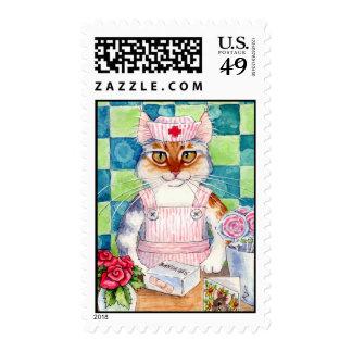 Cat nurse, candy striper, veterinarian postage