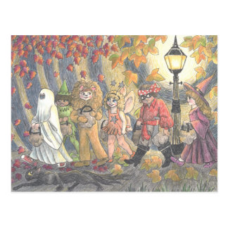 Cat of Black Trick or Treat Plate 3 Postcard