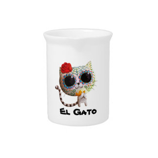 Cat of Day of The Dead Beverage Pitchers