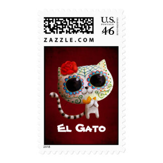 Cat of Day of The Dead Postage