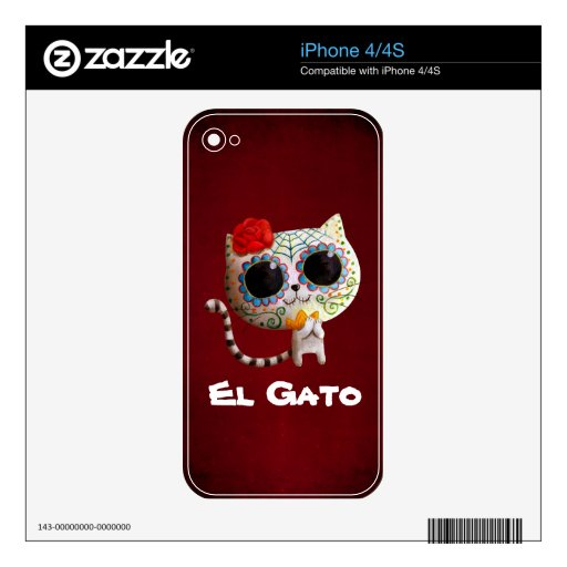 Cat of Day of The Dead Skins For iPhone 4