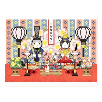Cat of Japanese Doll Festival of 3rd March Postcard