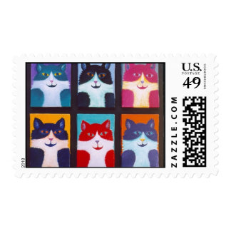CAT OF MANY COLORS POSTAGE STAMP