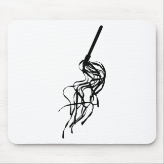 Cat of Nine Tails S&M Whip Outline Silhouette Mouse Pad