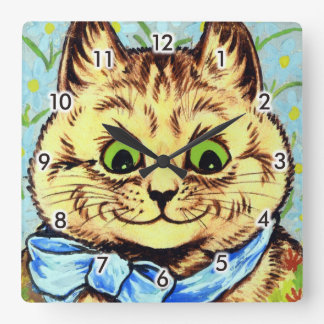 Cat of the blue ribbon, Louis Wain Square Wall Clock