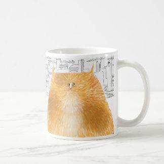 Cat of the future considering classic white coffee mug