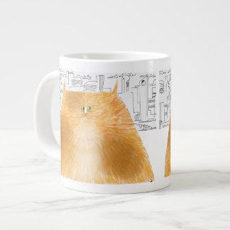 Cat of the future considering 20 oz large ceramic coffee mug