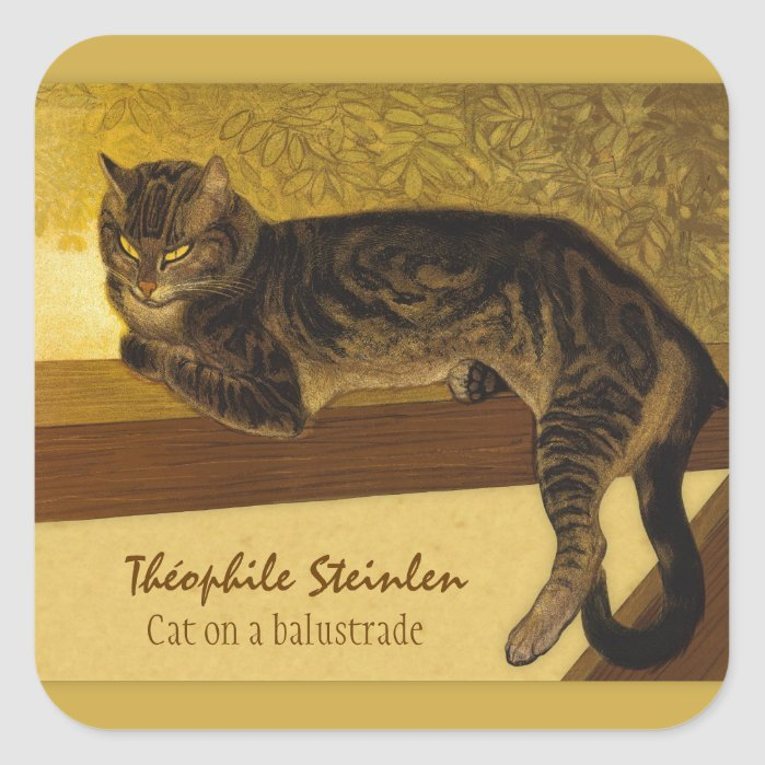 Cat on a balustrade CC0234 Théophile Steinlen Square Sticker
