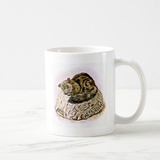 Cat on a Basket Artwork Classic White Coffee Mug