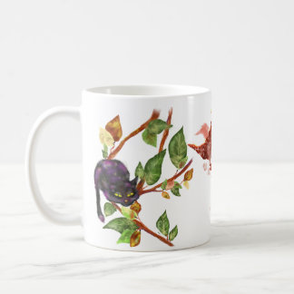Cat on a branch + Coffee Dragon - Calmness, only c Classic White Coffee Mug