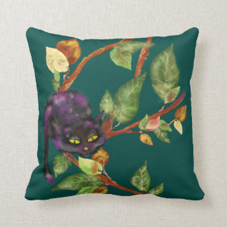 Cat on a branch, Coffee Dragon. Mix Throw Pillow