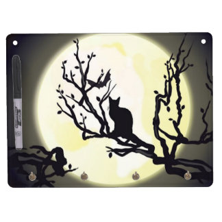 Cat on a Branch Dry Erase Board With Keychain Holder
