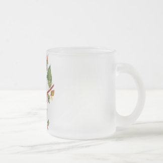 Cat on a branch frosted glass coffee mug
