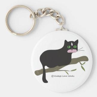 Cat on a Branch Basic Round Button Keychain