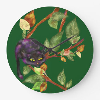 Cat on a branch large clock