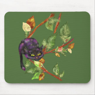 Cat on a branch mouse pad