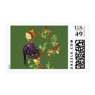 Cat on a branch postage