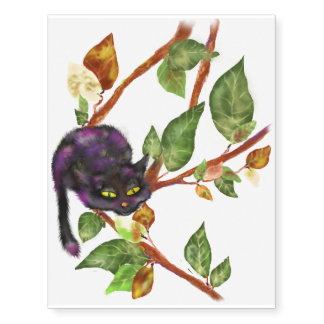 Cat on a branch temporary tattoos